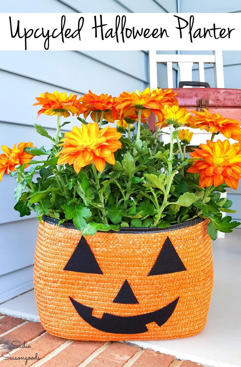 Repurposing a straw tote as a Halloween planter