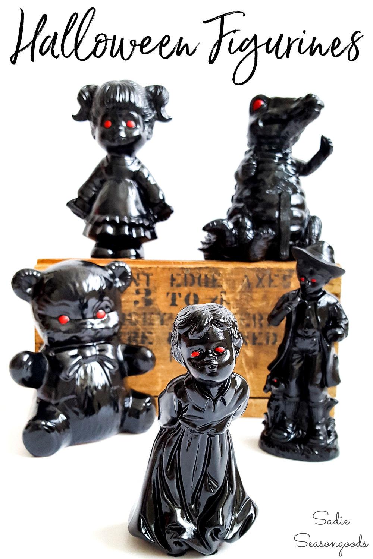spooky decor with halloween figurines