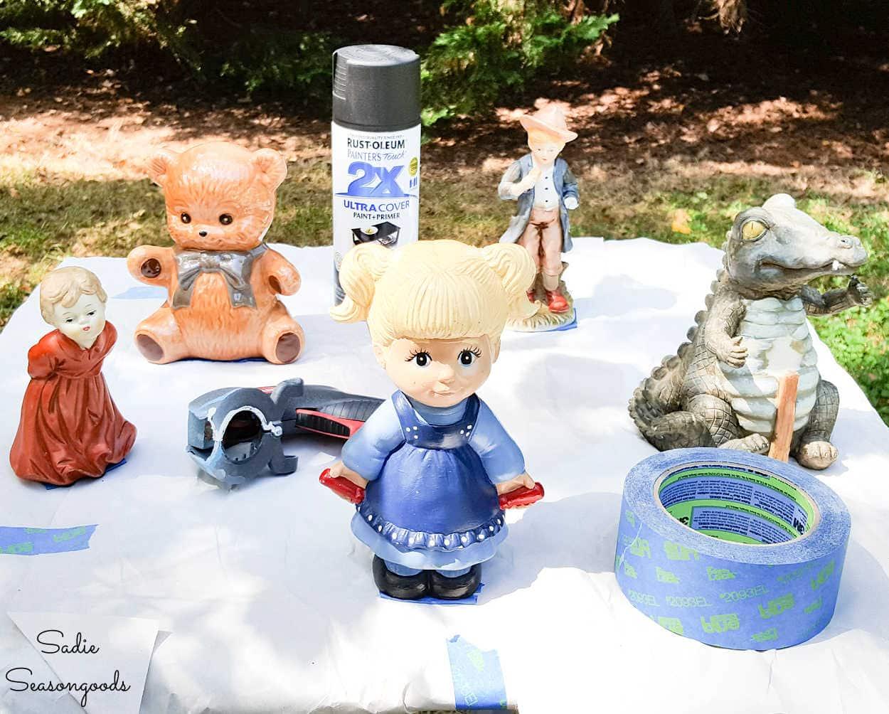 spray painting the halloween figurines
