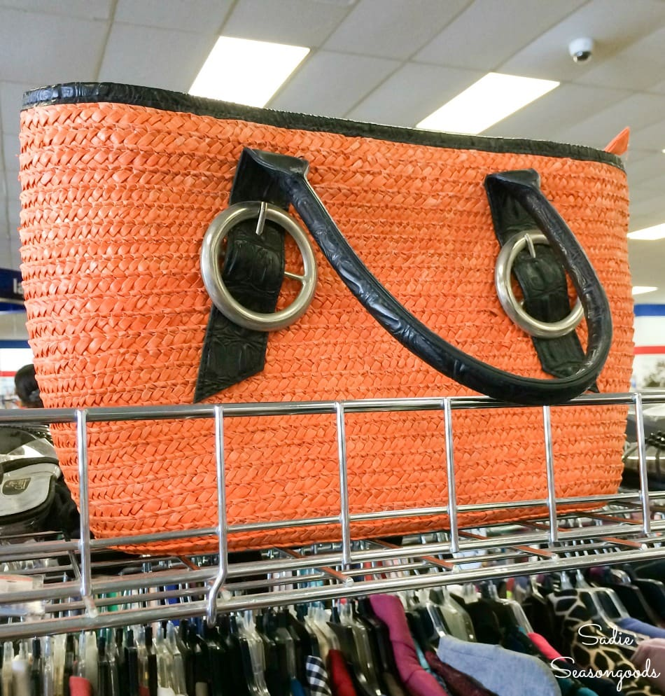 Straw tote at a Goodwill thrift store