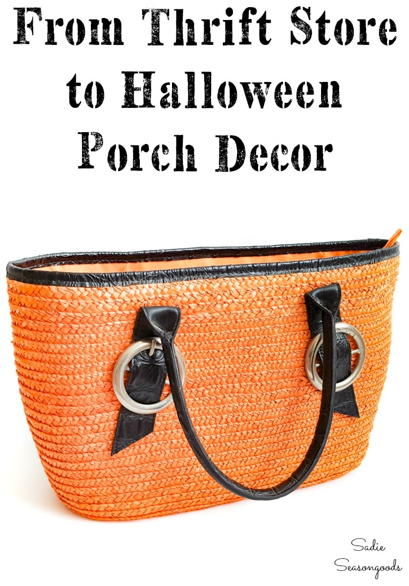 Straw tote from Goodwill as Halloween porch decorations