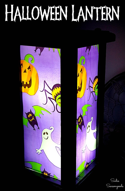Wooden hurricane lantern as light up Halloween decor