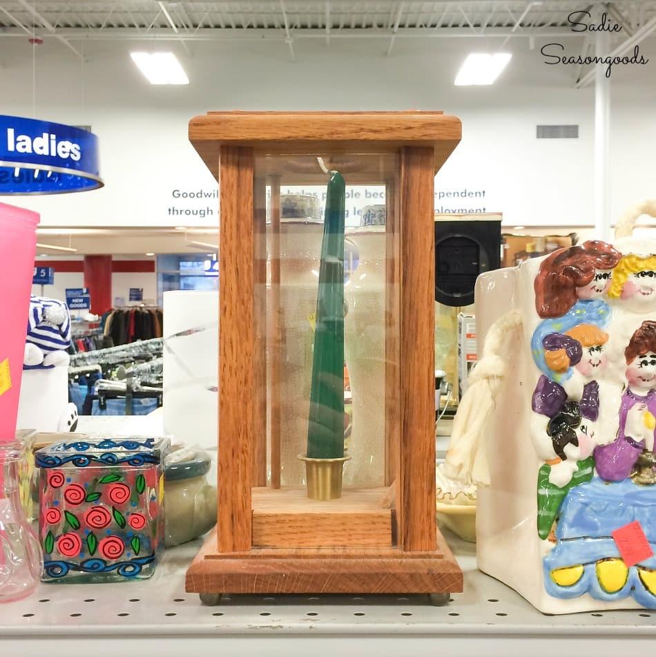 Wooden hurricane lantern at thrift store