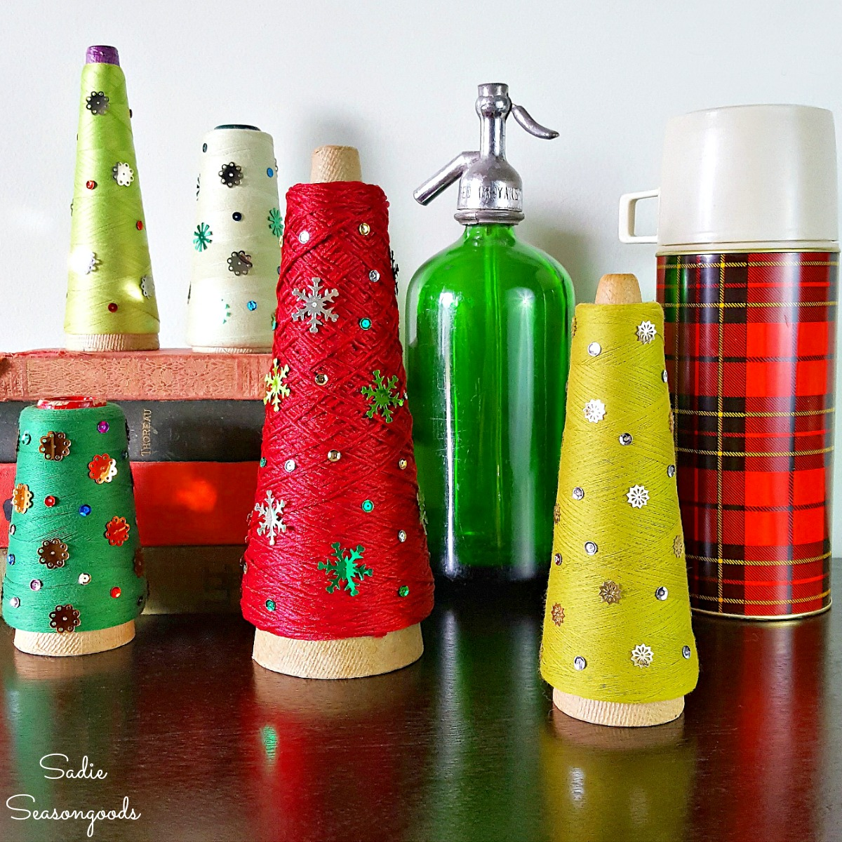 Cone Christmas Trees with Serger Thread and Vintage Sequins