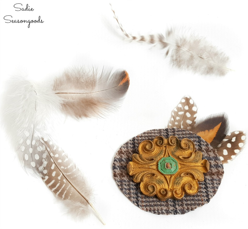 Cruelty free feathers on statement brooches