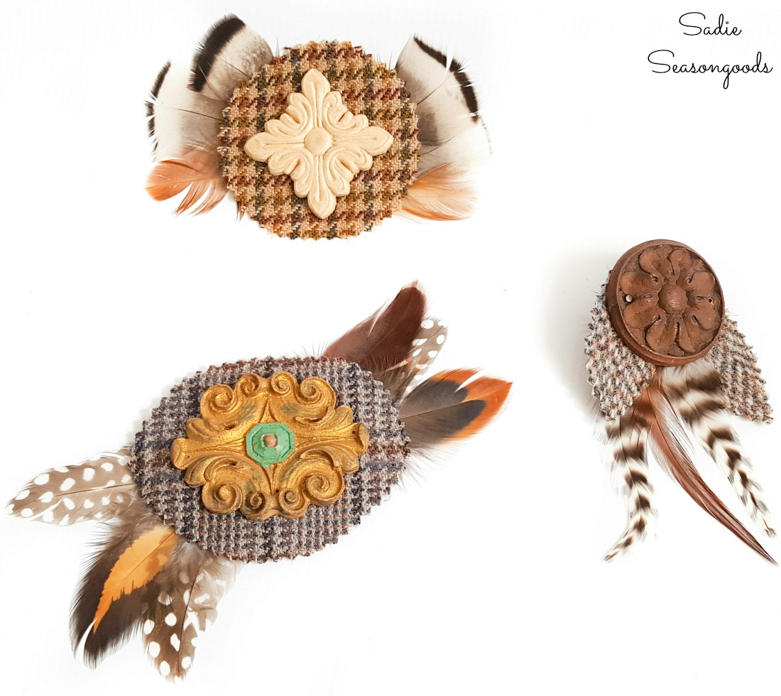 Jewelry Making with tweed material and furniture appliques
