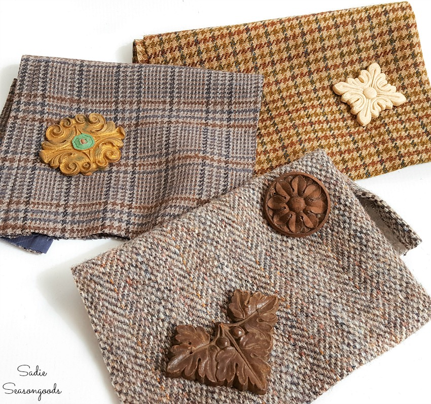 Jewelry making with wood appliques and tweed material