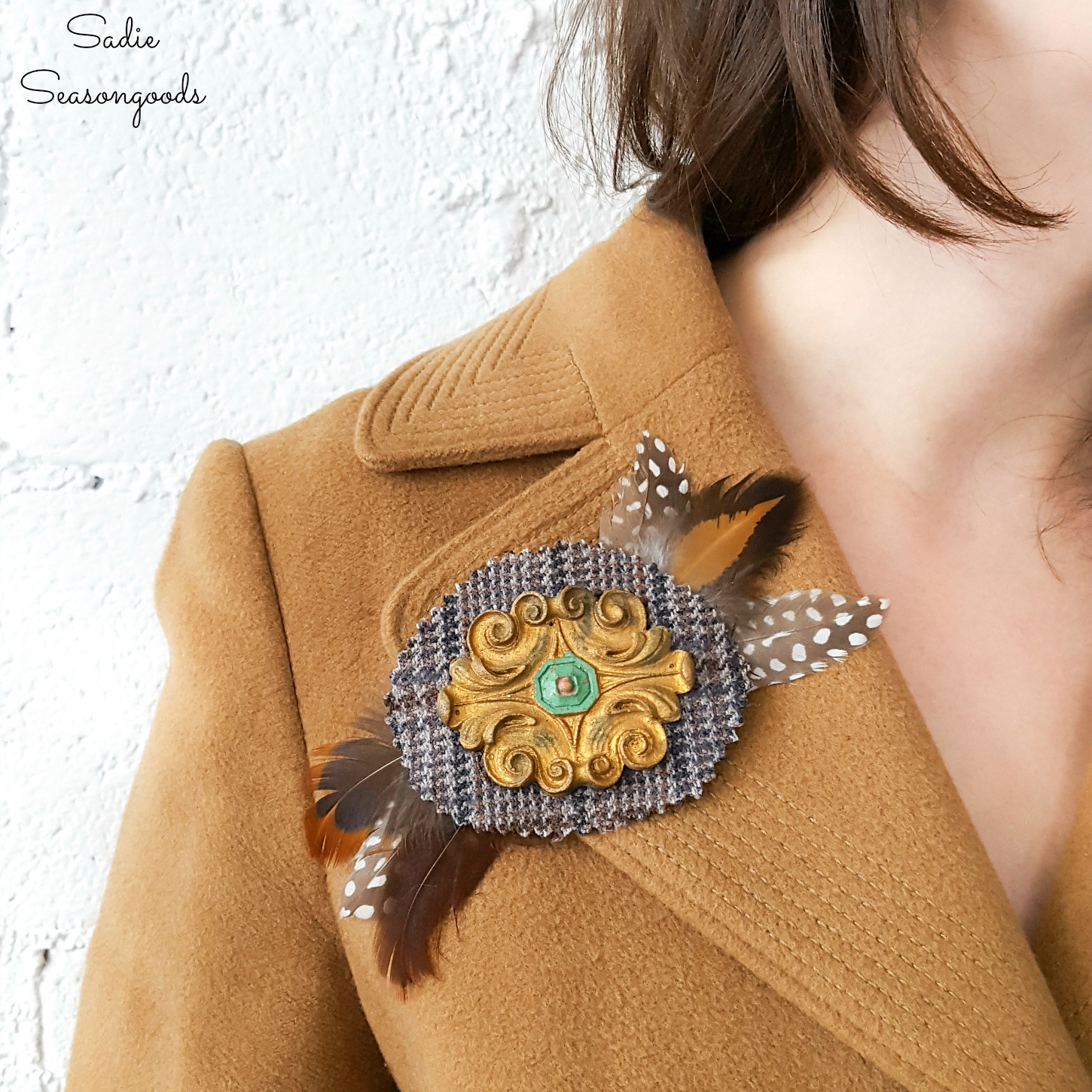 Statement Brooches with Wood Medallions and Tweed