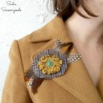 Making a Brooch Pin with Wood Appliques and Tweed Fabric