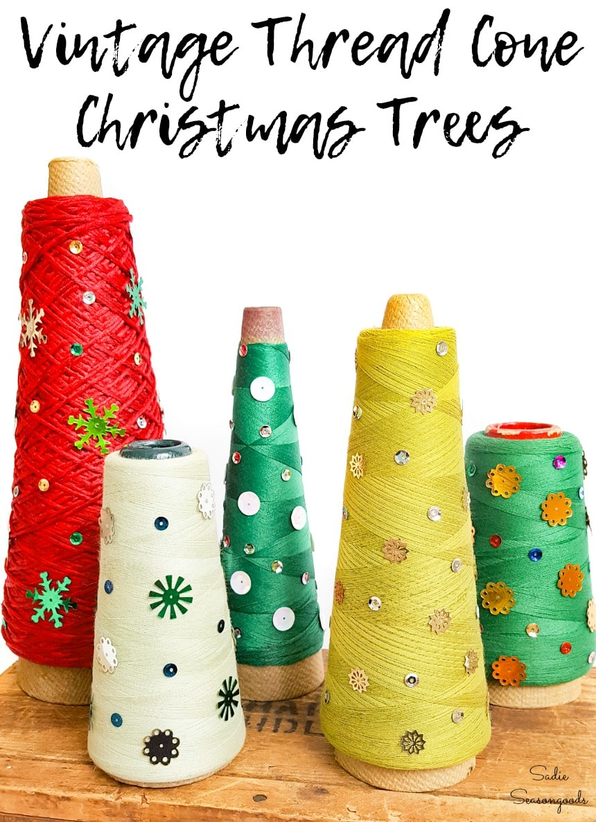 Christmas craft project with serger thread cones and vintage sequins