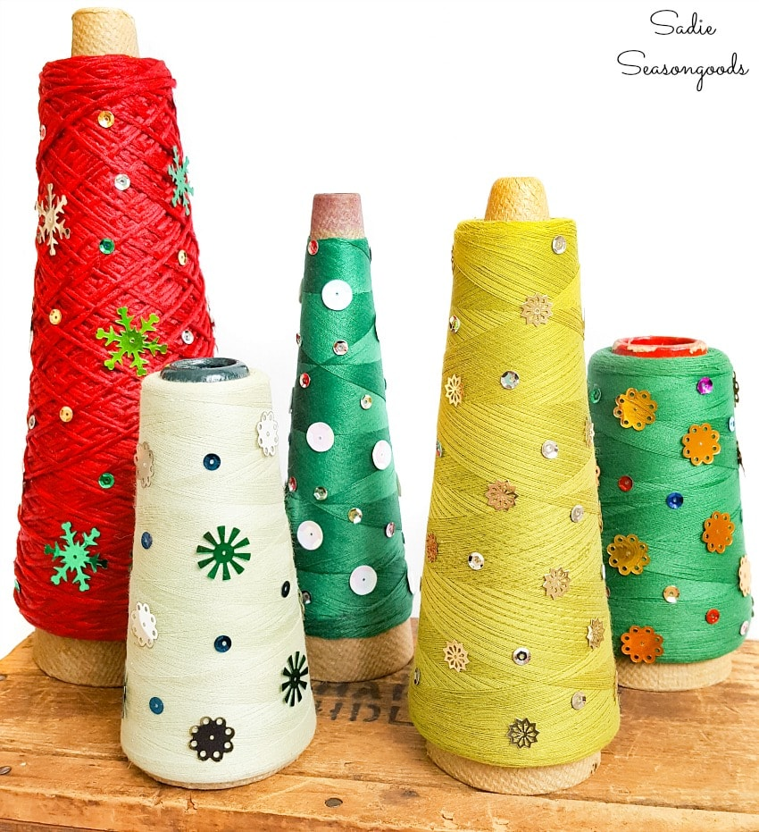 Cone Christmas trees from overlock thread