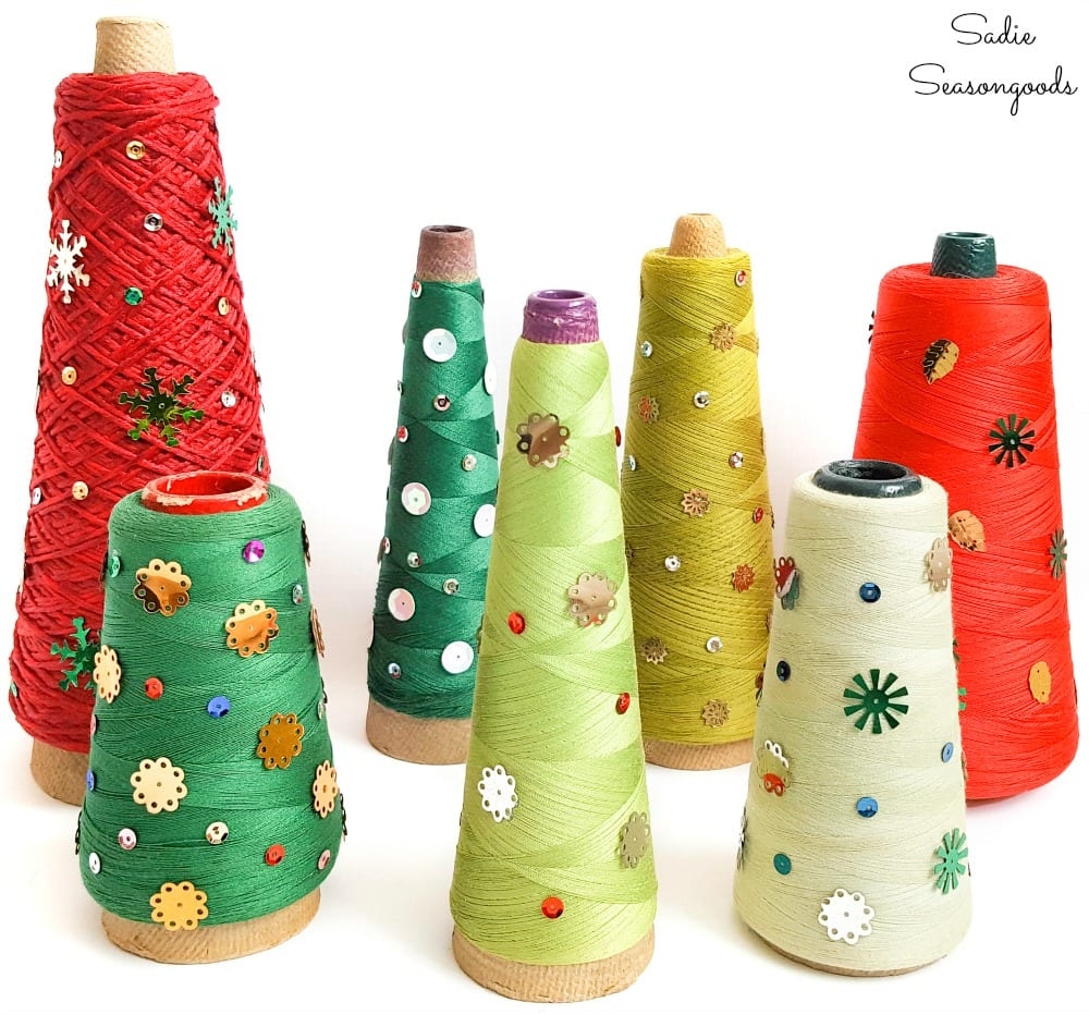 Cone Christmas trees with serger thread