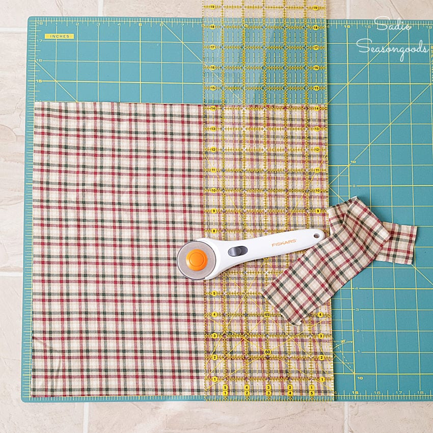 Cutting out flannel fabric for a draft blocker