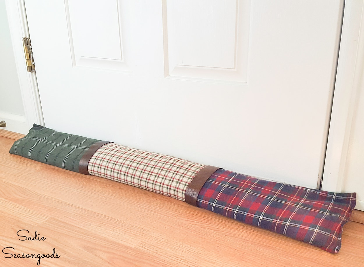 DIY door draft stopper from flannel shirts
