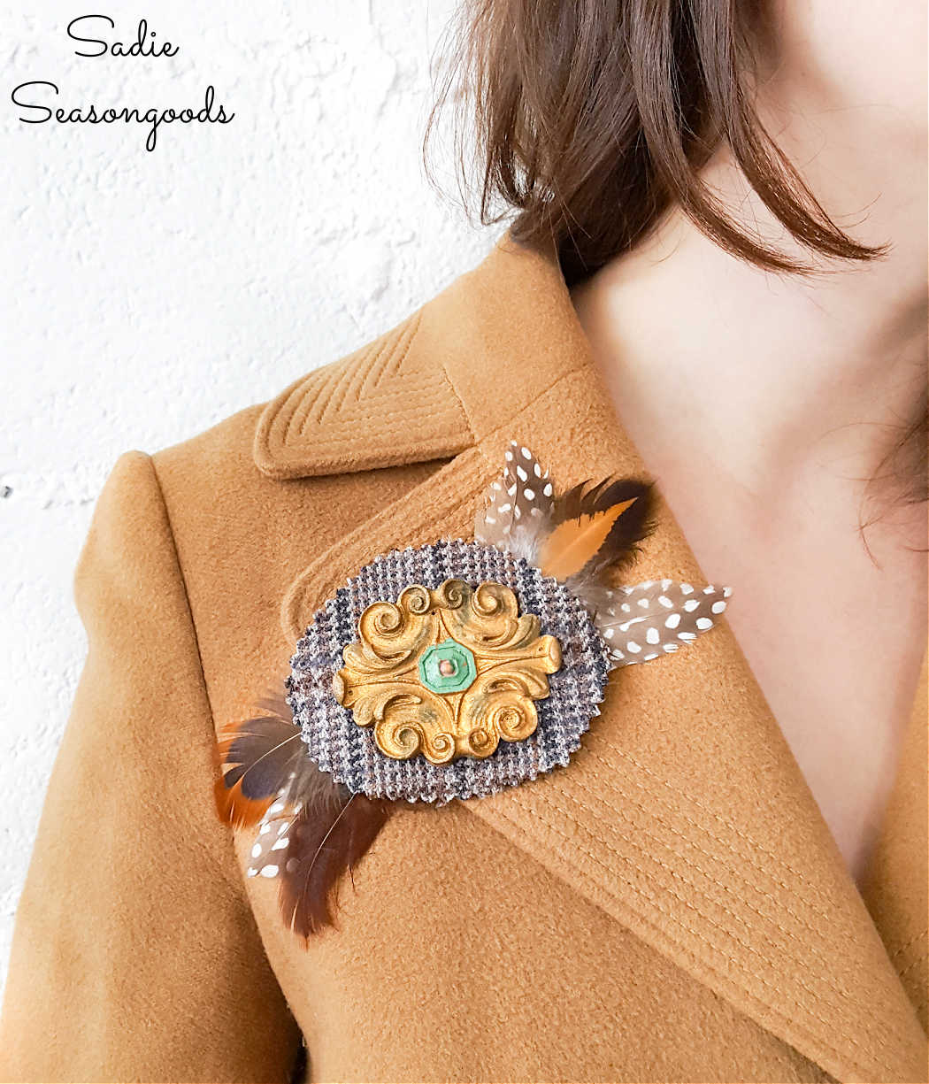 diy jewelry from a tweed sportcoat