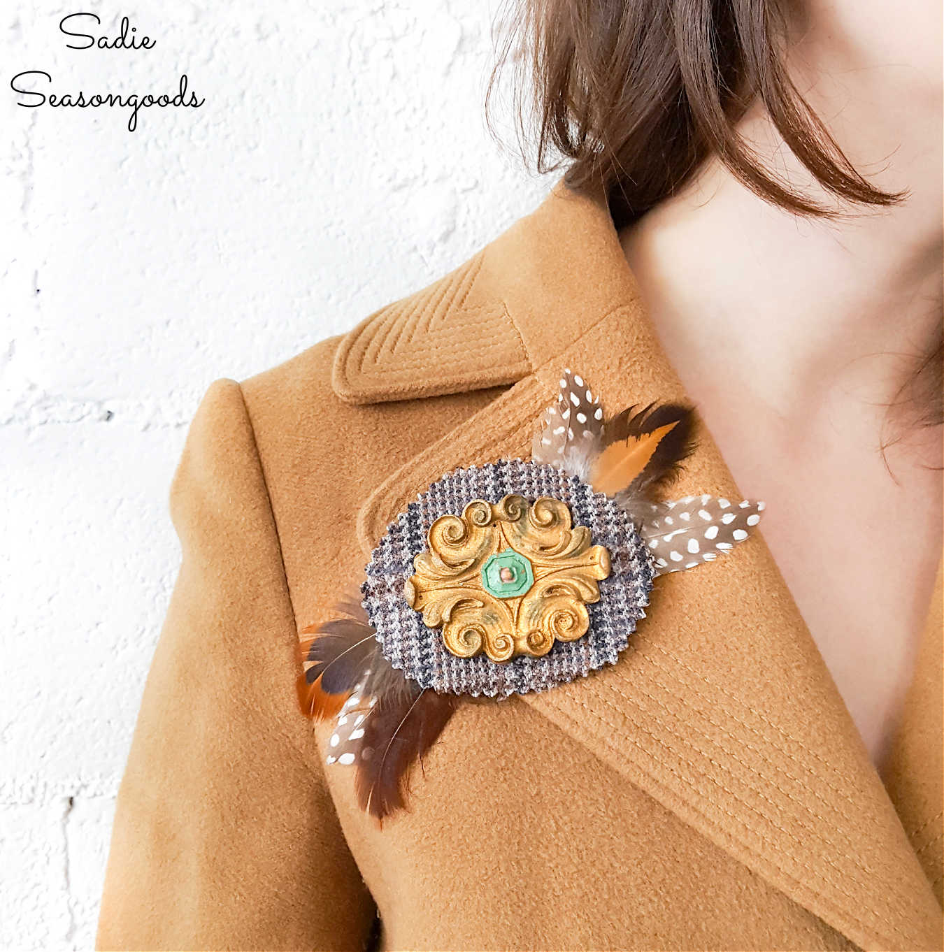 Jacket Pins from Wood Medallions and Tweed