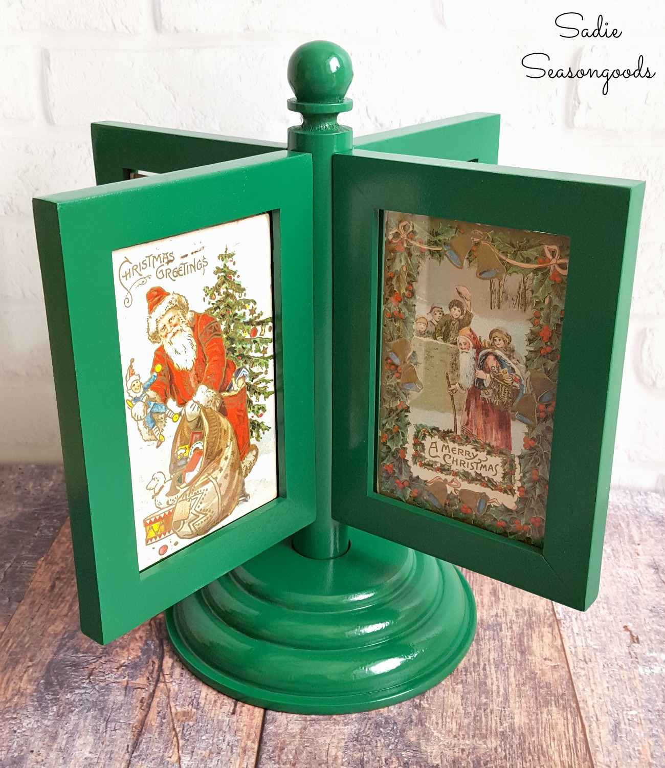 Decorating for Christmas with a spinning frame and Victorian Christmas postcards