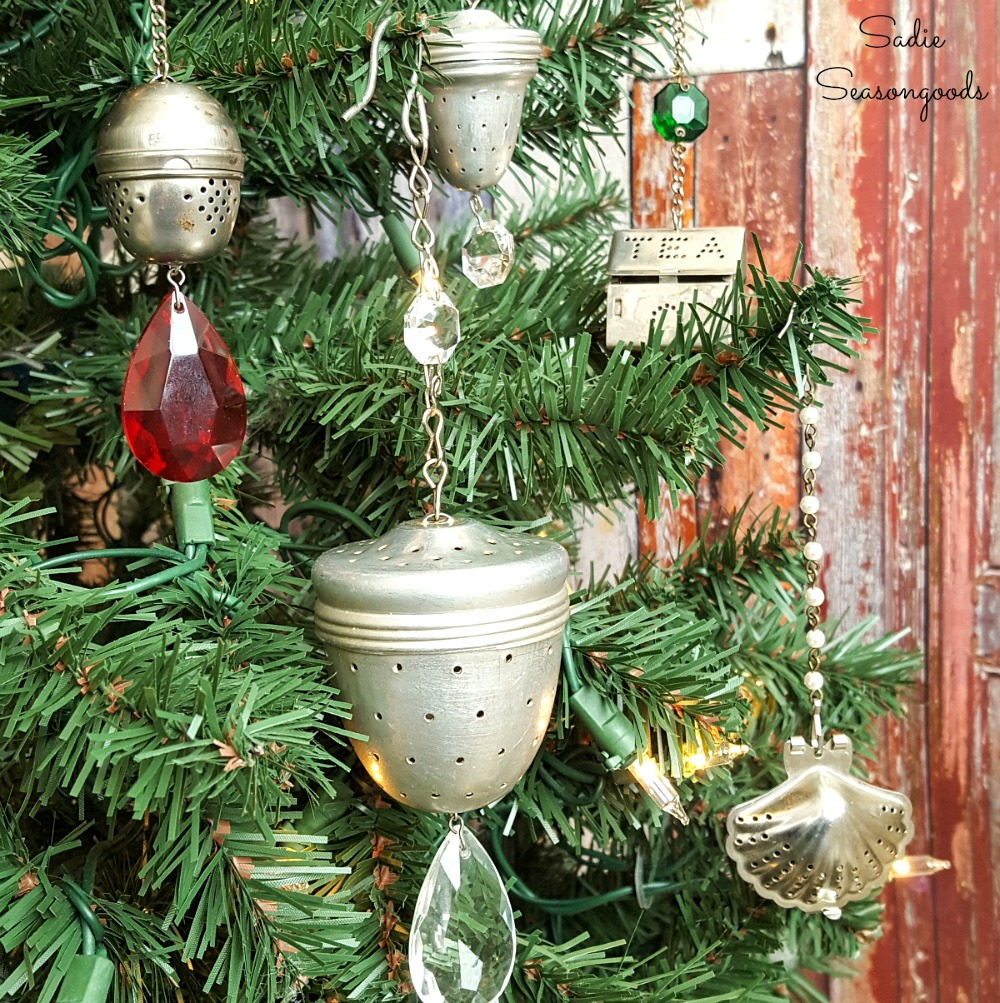 Rustic Christmas Ornaments that are made with the tea strainers or loose tea infuser and crystals from a vintage chandelier