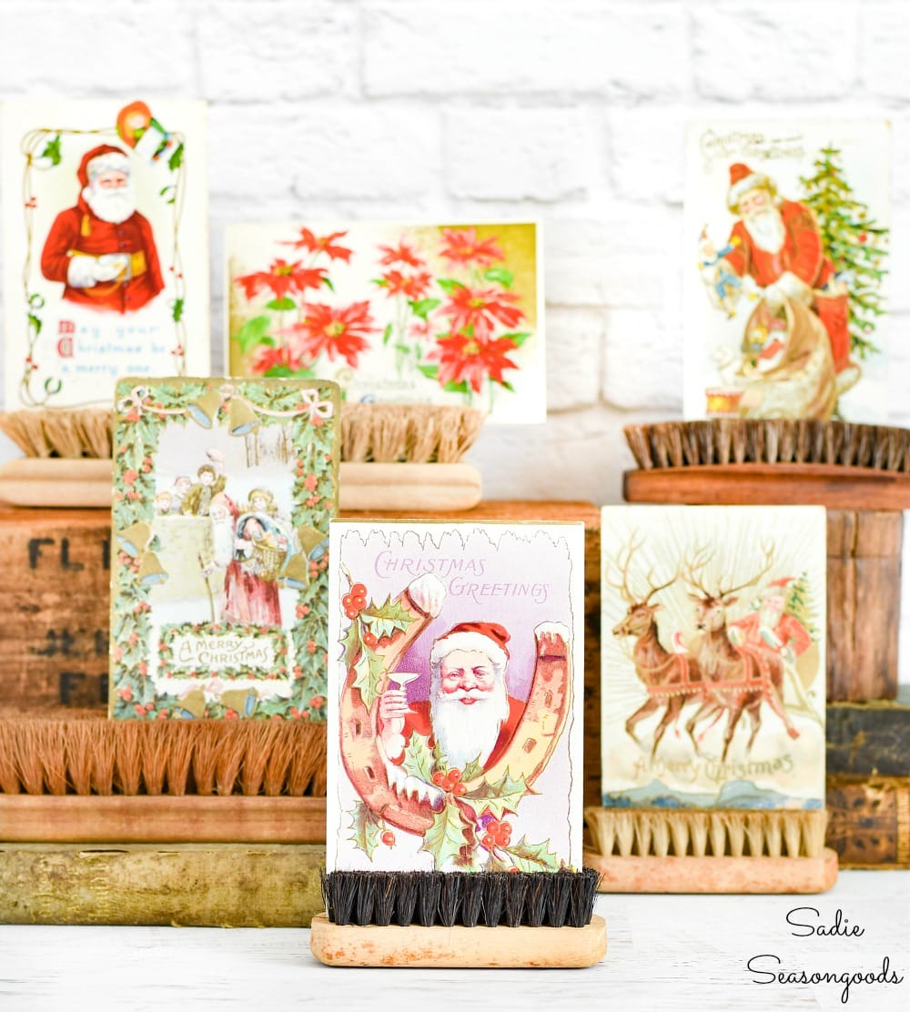 Display ideas for vintage Christmas postcards