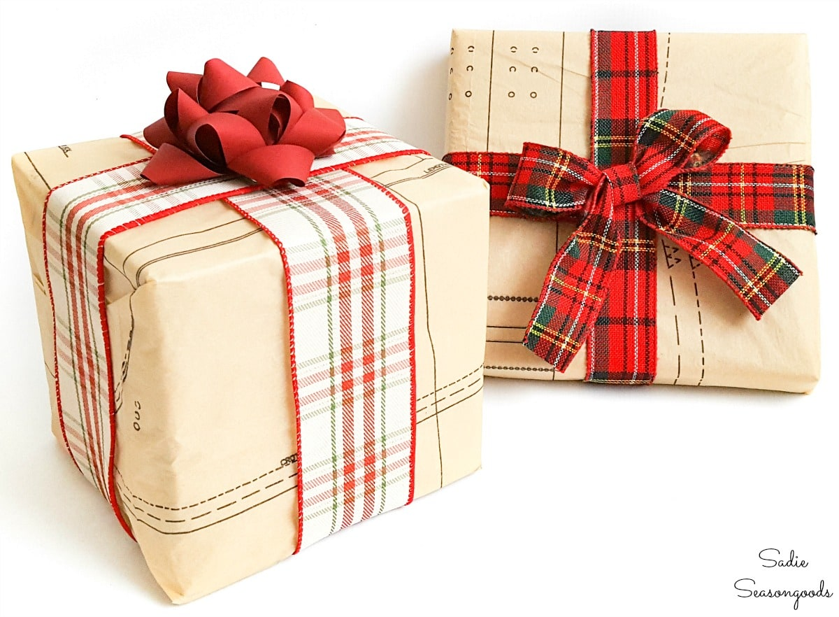 Eco friendly wrapping paper with vintage sewing patterns