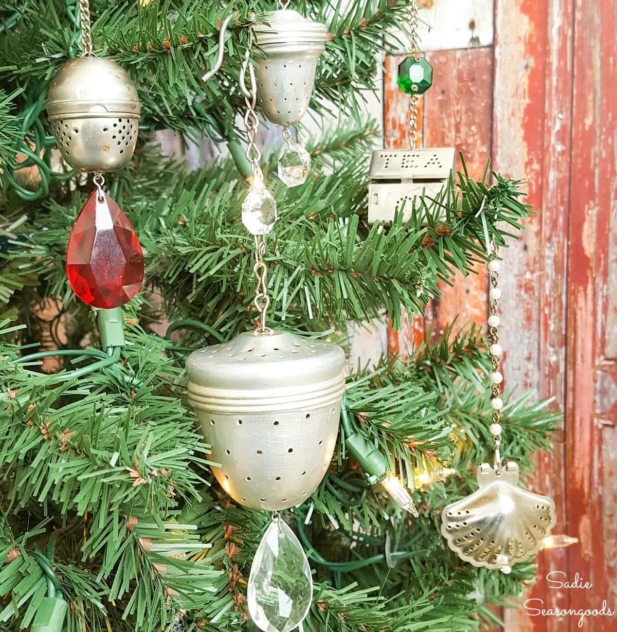 Loose leaf tea strainers as Christmas ornaments