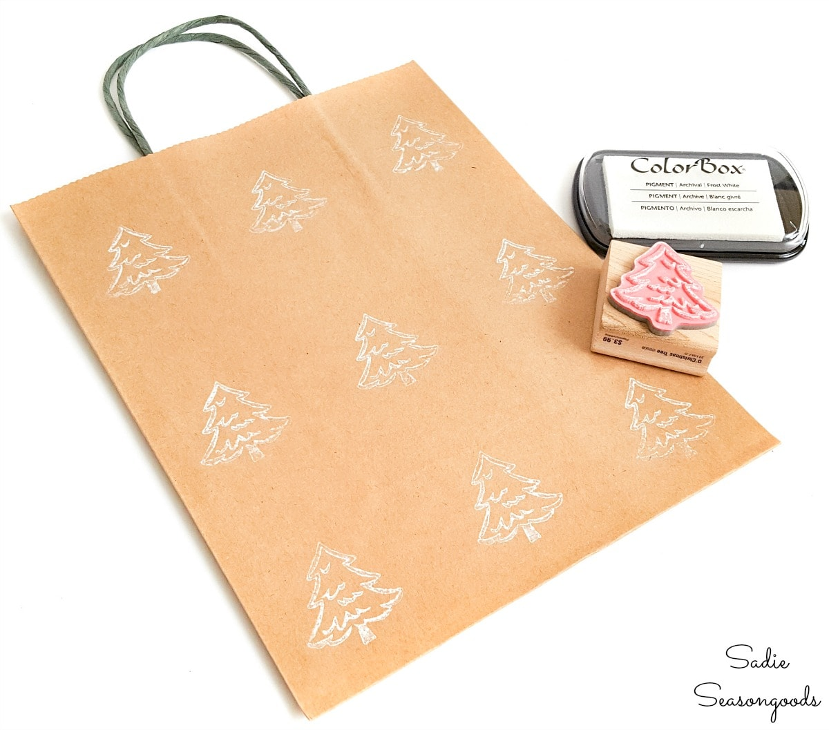 Rubber stamping on eco friendly gift bags