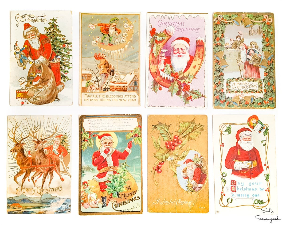 Vintage Christmas postcards to display