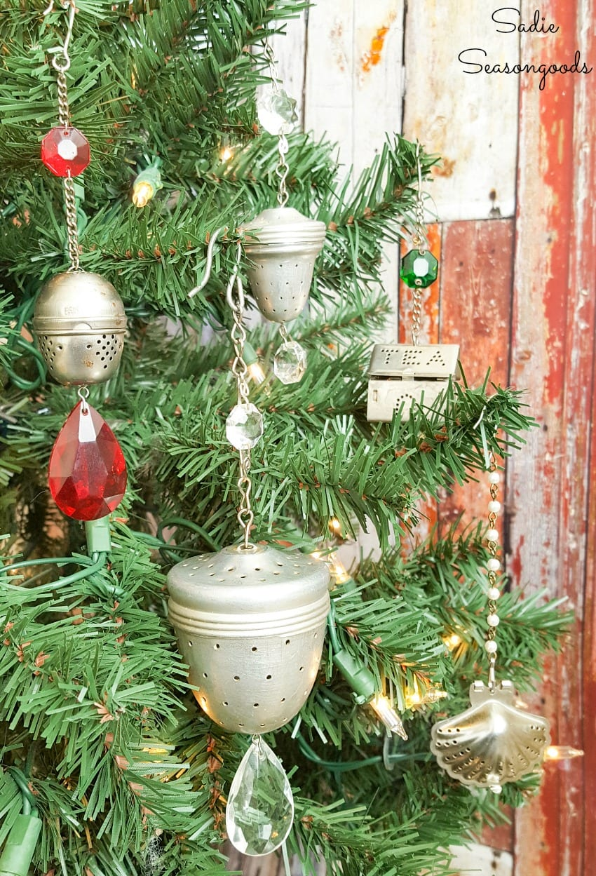 Vintage tea strainers as Christmas ornaments on a tree