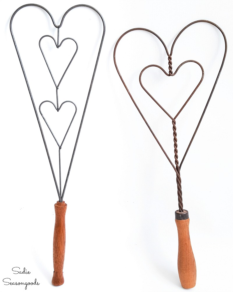 Carpet beater for upcycling into heart decorations for Valentine's Day home decor