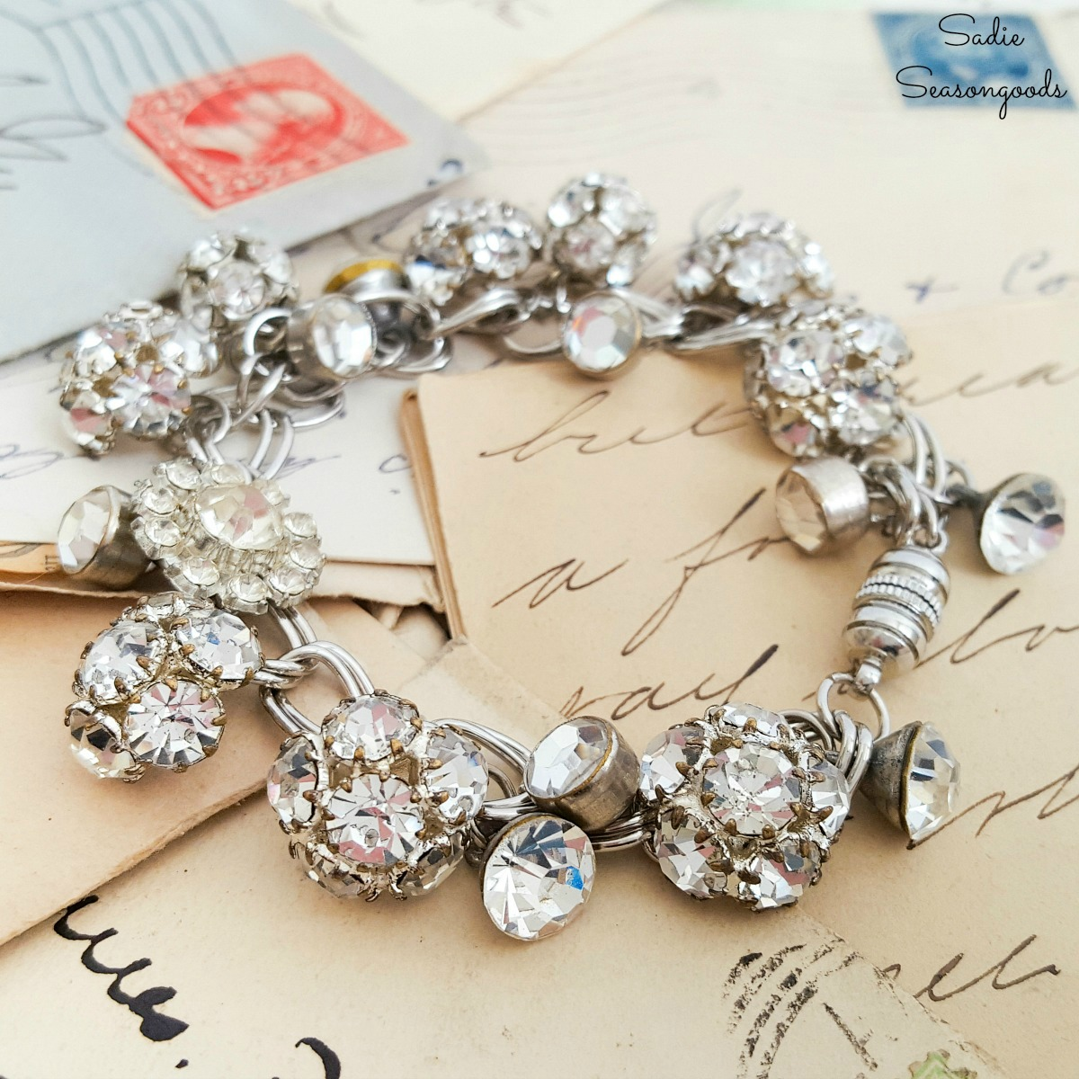 How to Make a DIY Charm Bracelet with Rhinestone Buttons