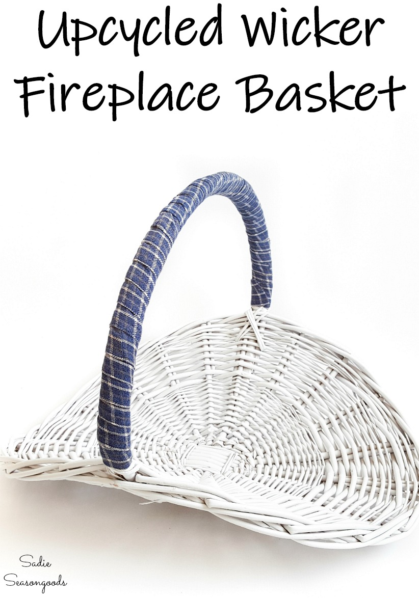 Fireplace basket as fireplace hearth decor with an upcycled flannel shirt