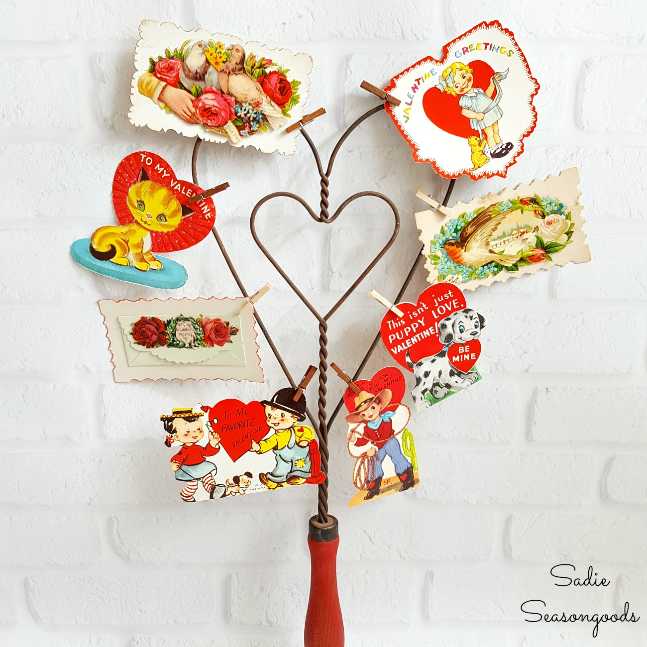 Valentines Day Decorations with Vintage Valentines & Antique Rug Beater