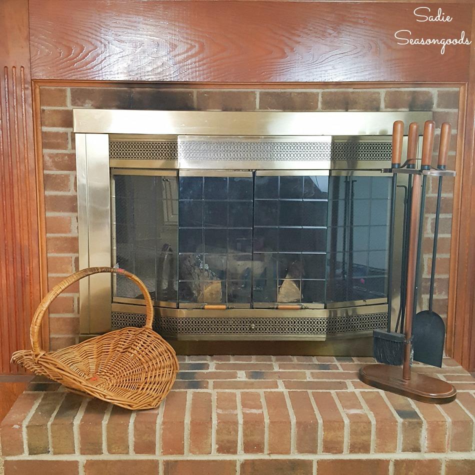 Rattan log basket on a brick hearth