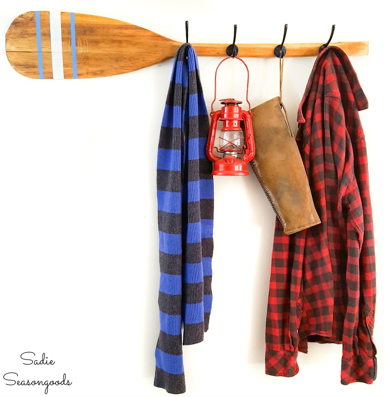 Repurposing a wood paddle as wooden oar decor and rustic coat rack
