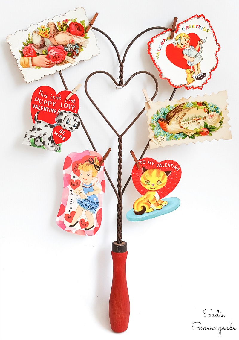 Rug beater or carpet beater as heart decorations for Valentines home decor