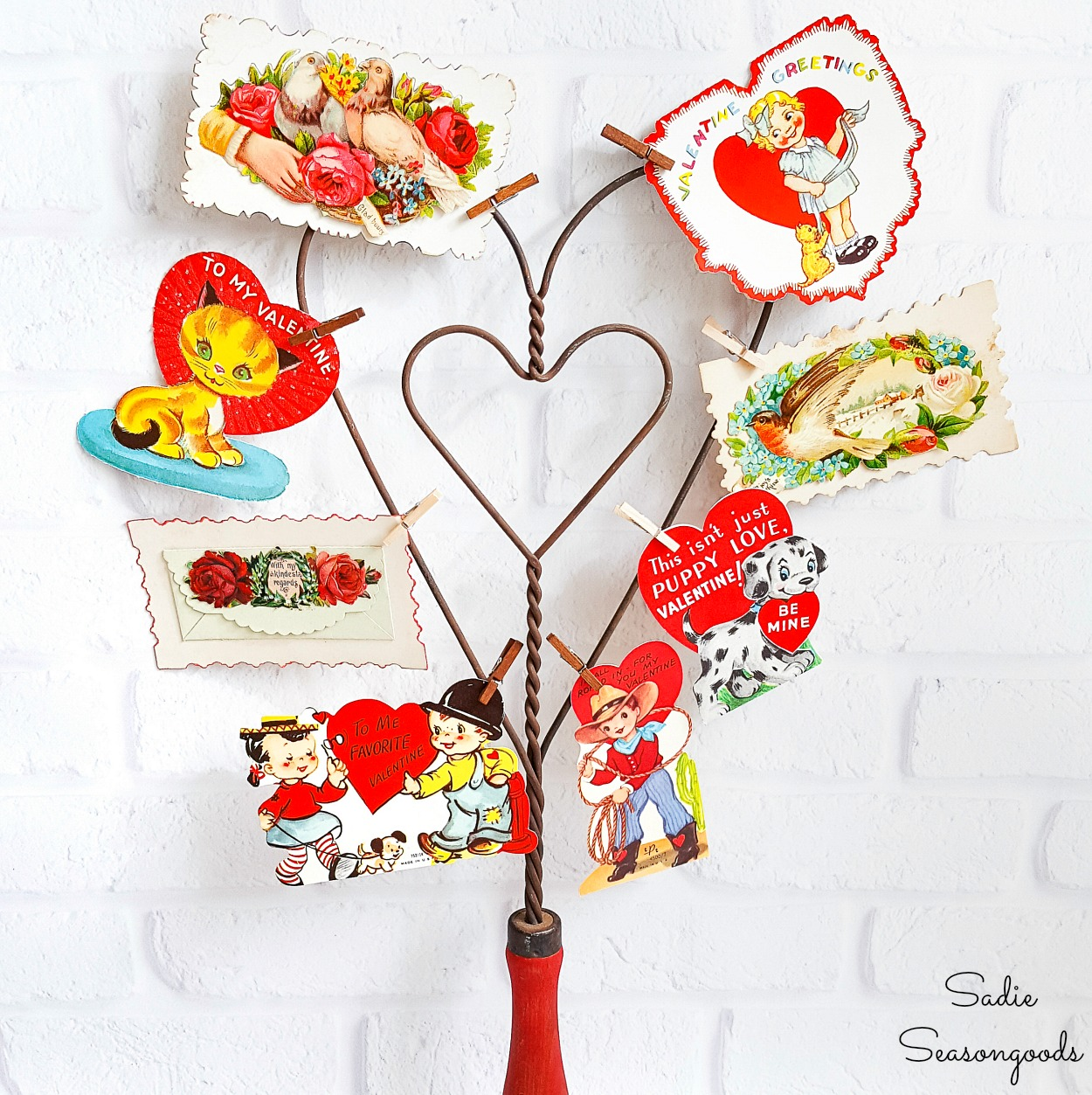 Vintage Valentine Decorations with a Carpet Beater