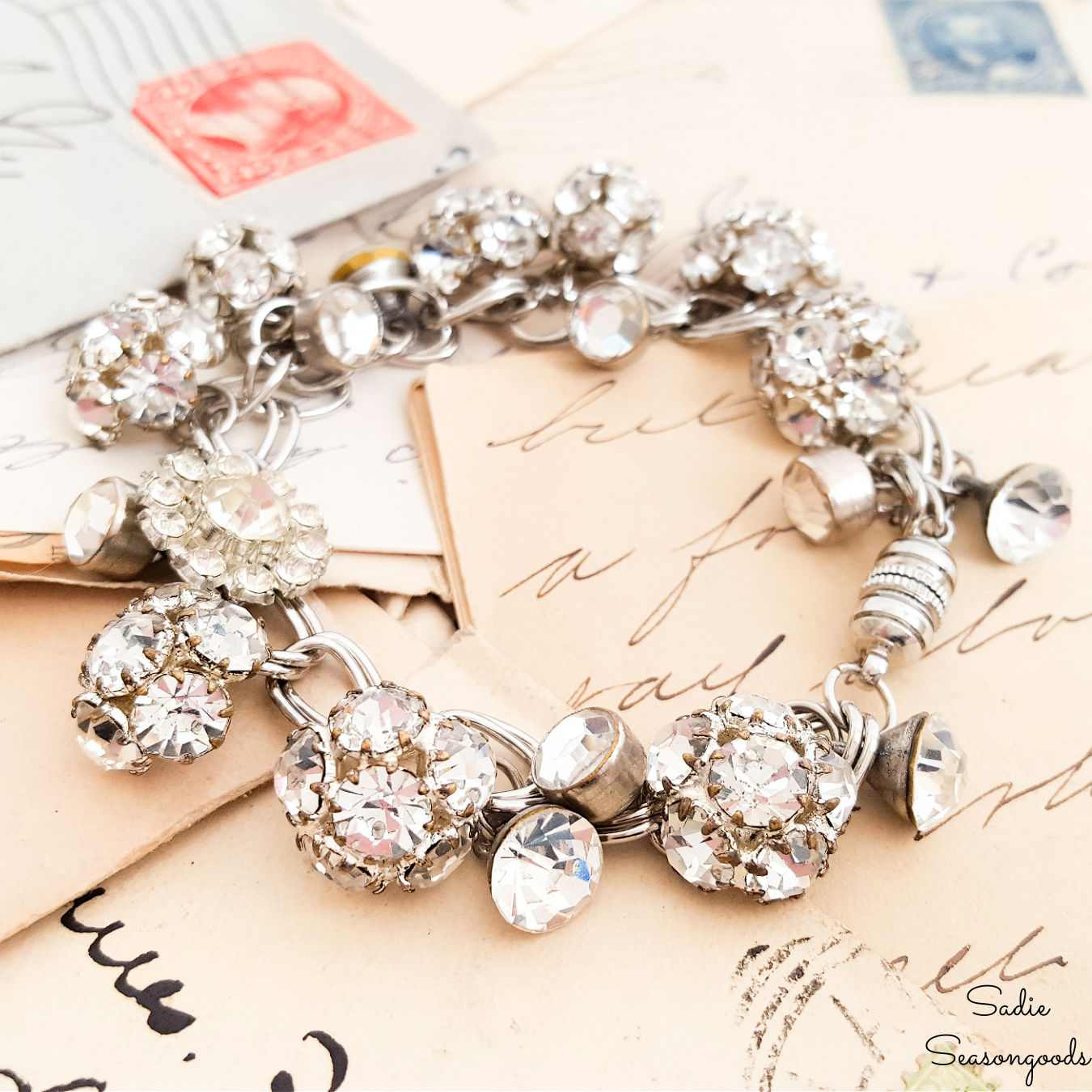 DIY Charm Bracelet with Rhinestone Buttons