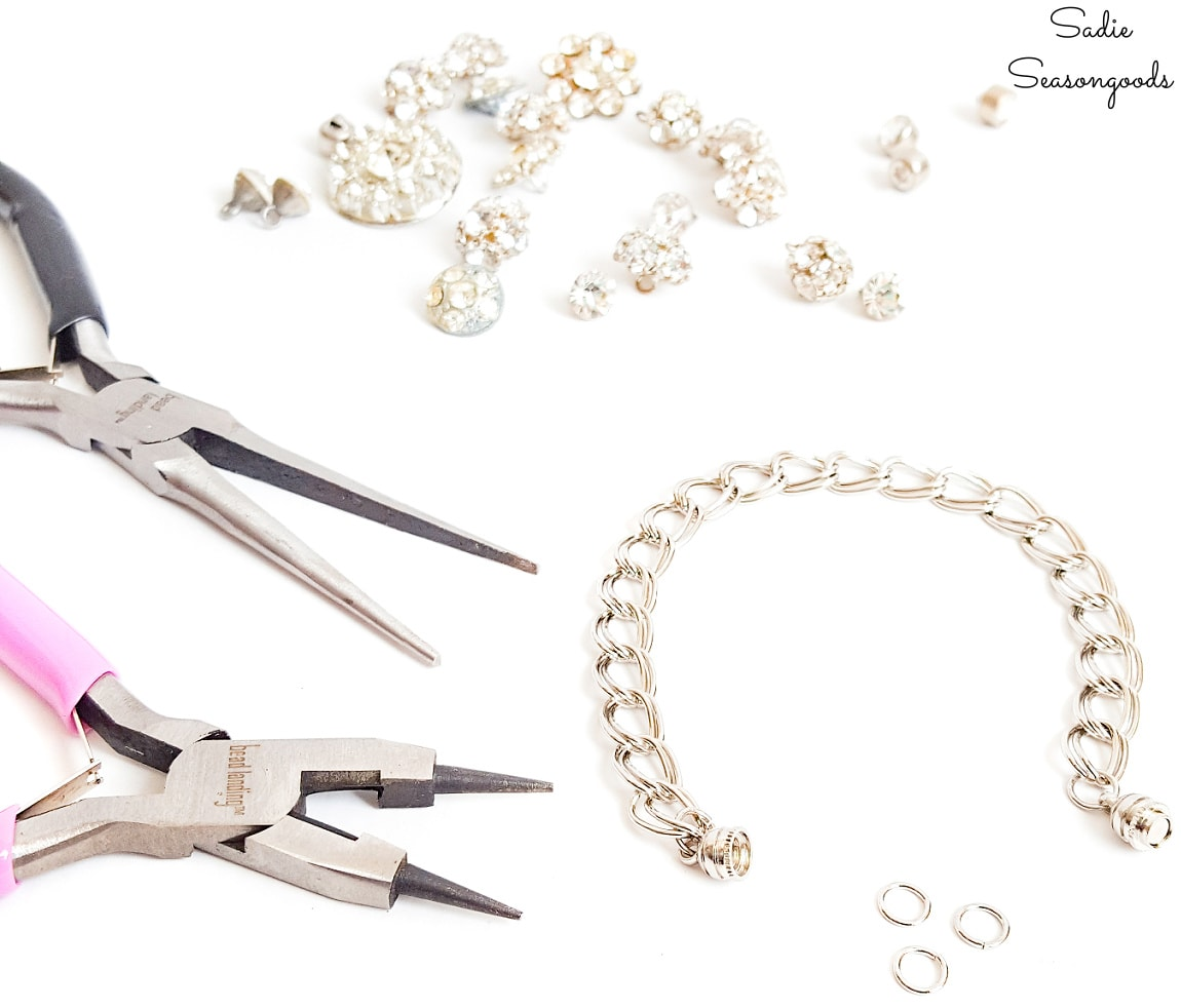 making charm bracelets with rhinestone buttons