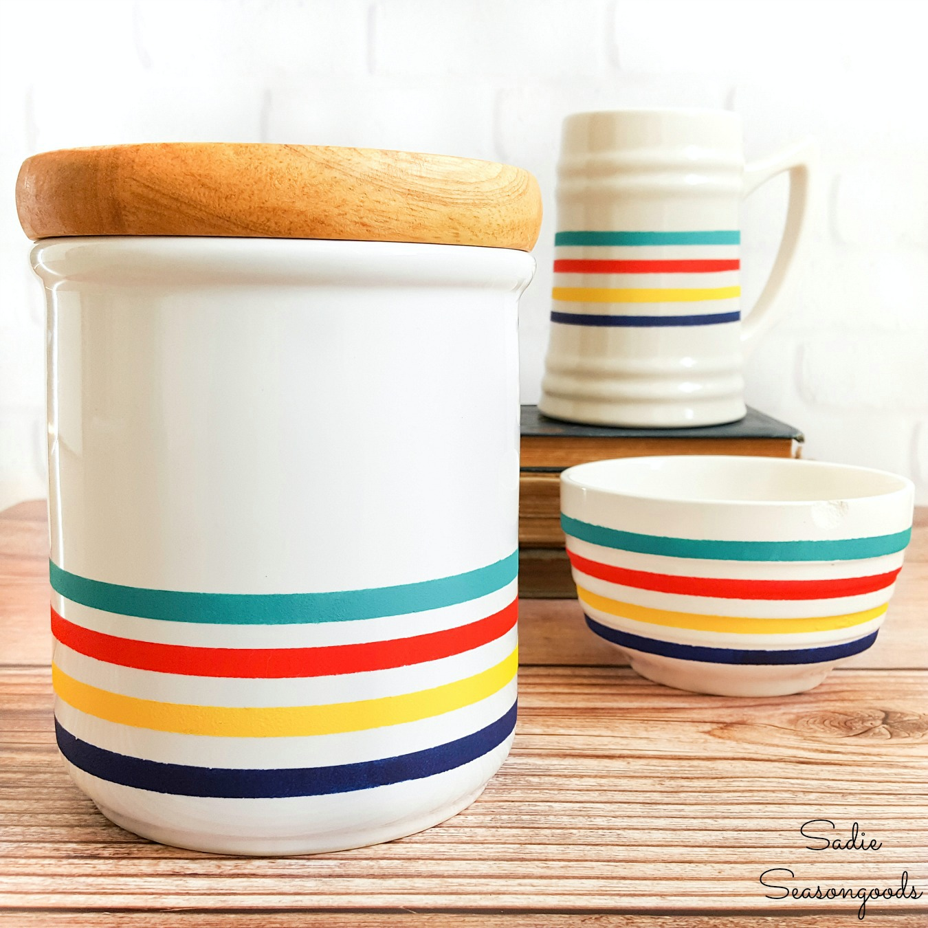 DIY Cabin Decor with Hudson Bay Stripes on Plain White Dishes