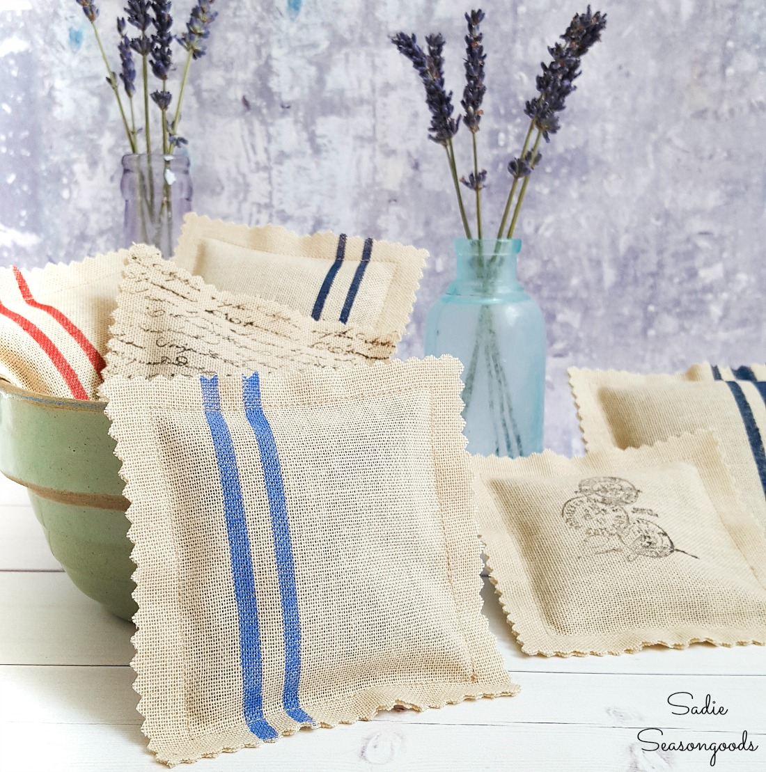Recreating the Look of Grain Sack Fabric for Scented Sachets