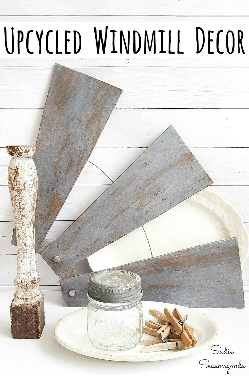 How to upcycle the ceiling fan blades into windmill decor or half windmill wall decor for a farmhouse home