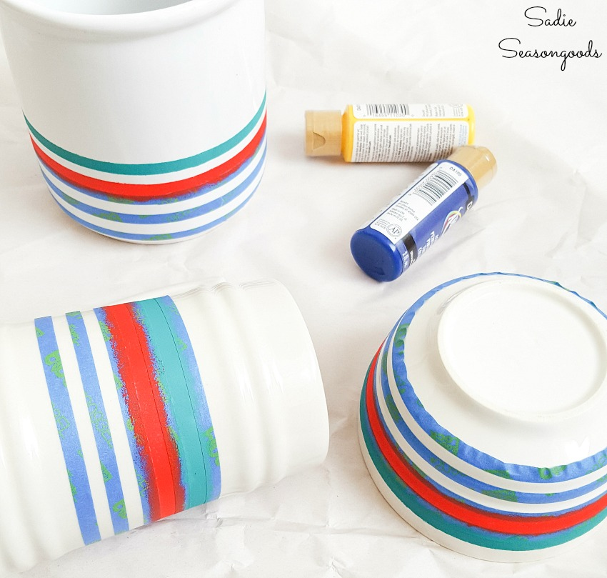 Hudson Bay stripes on ceramic dishes for lodge decor