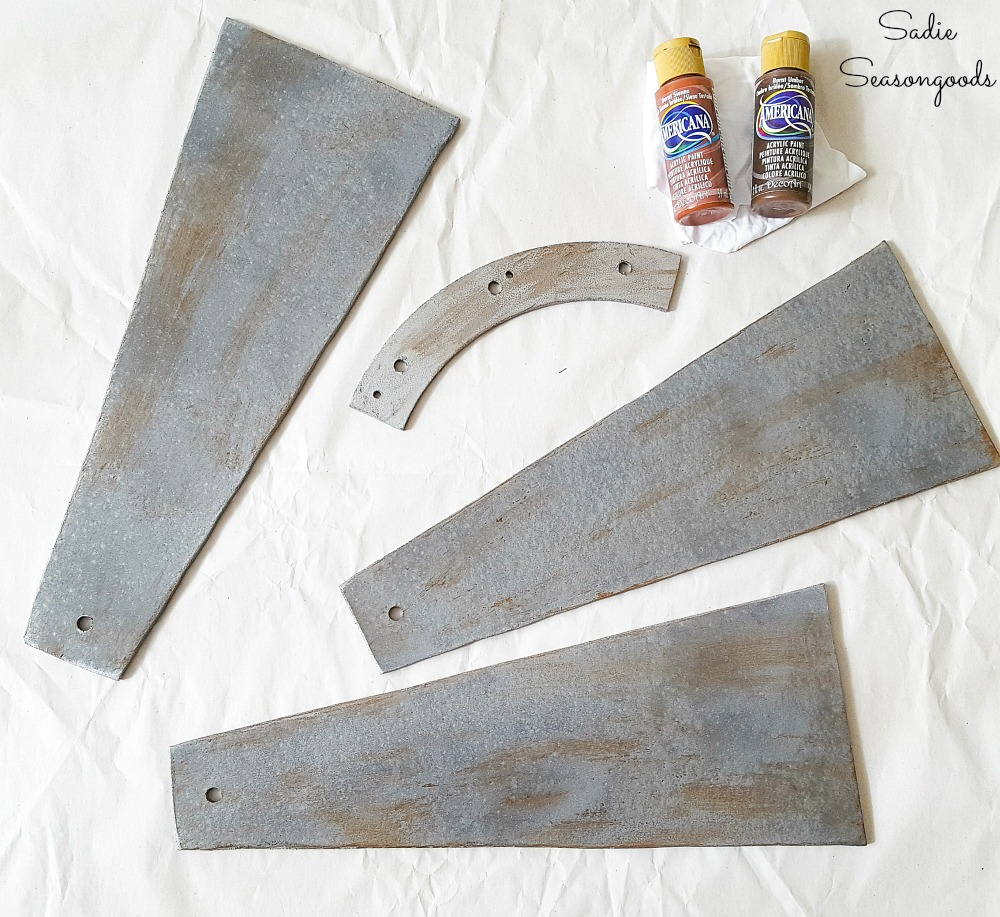 Rust effect on galvanized spray paint to look like farmhouse home decor and a DIY windmill