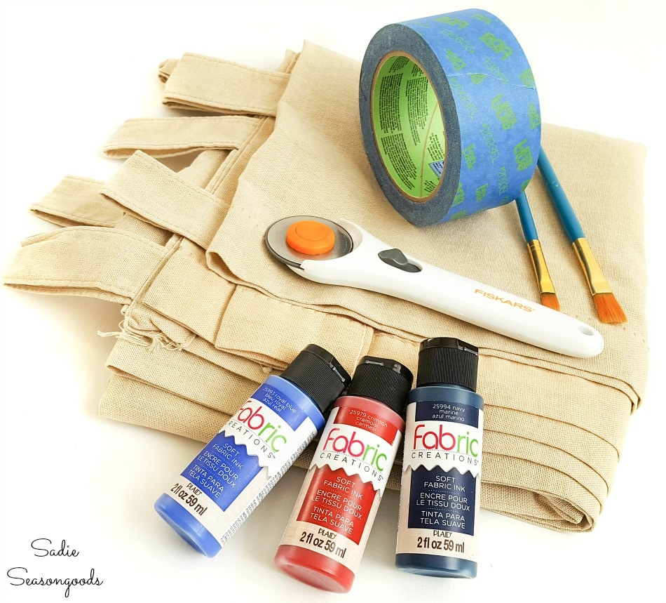 Craft supplies for getting the look of grain sack fabric