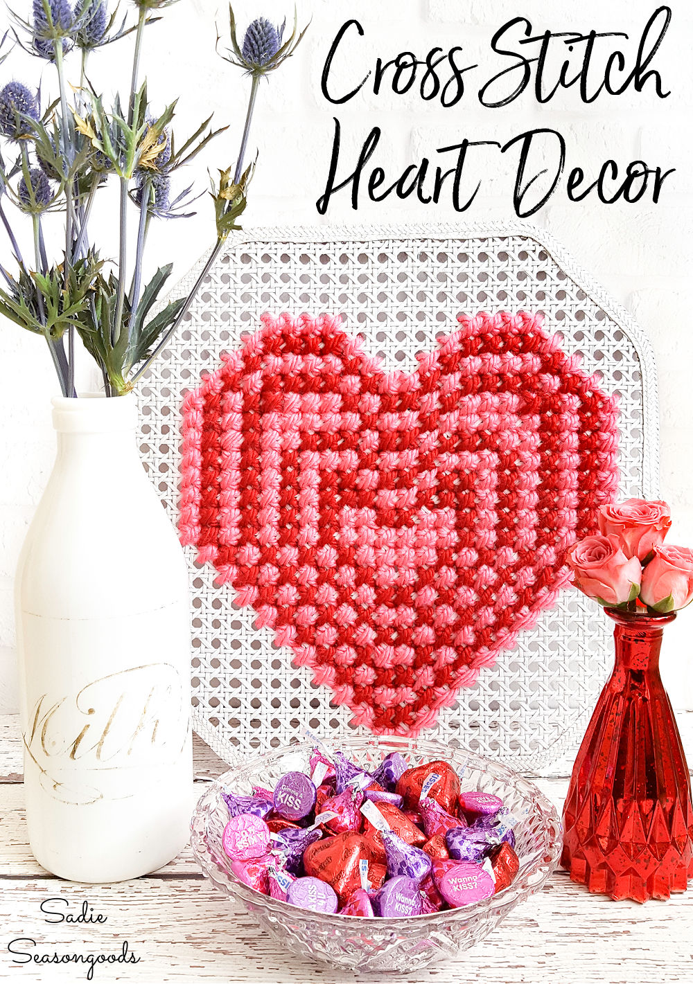 Heart cross stitch on cane webbing