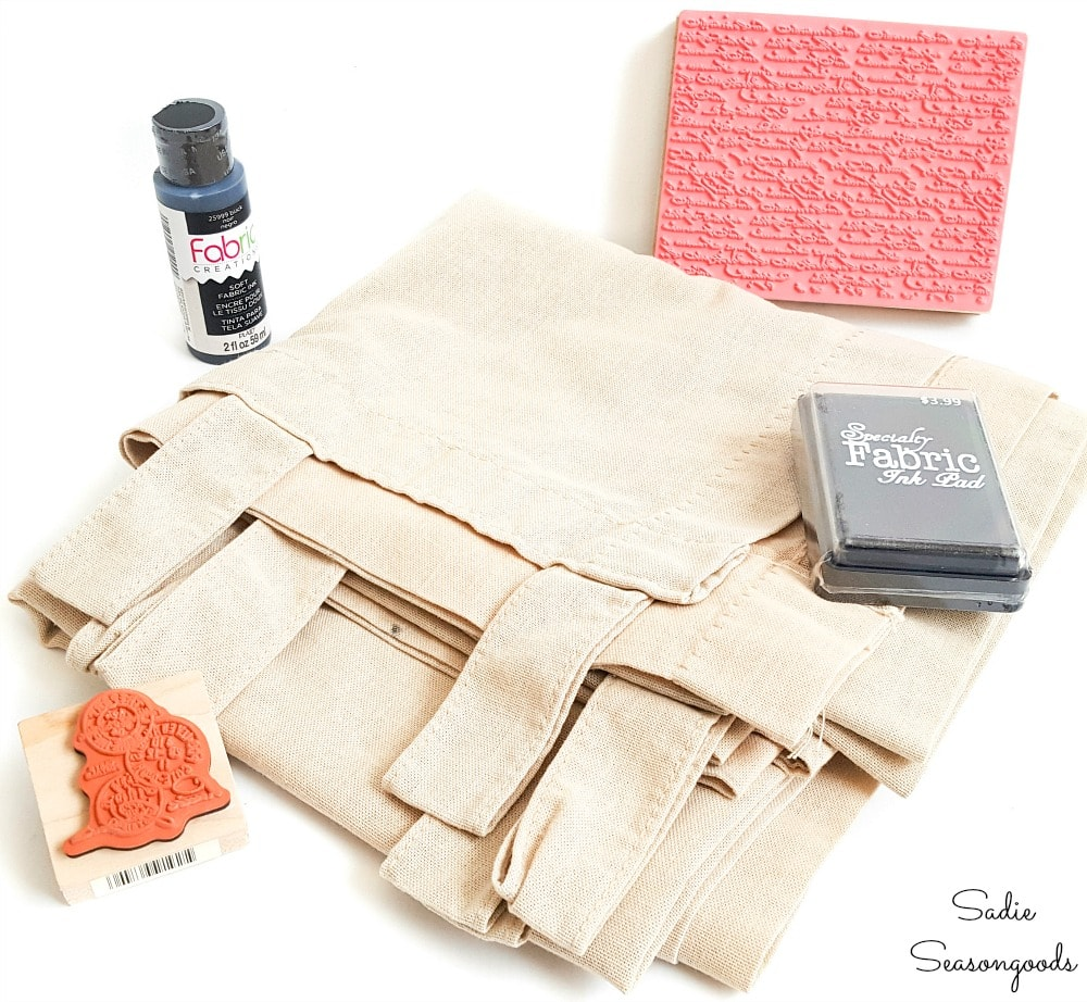 Rubber stamps and fabric ink for grain sack fabric