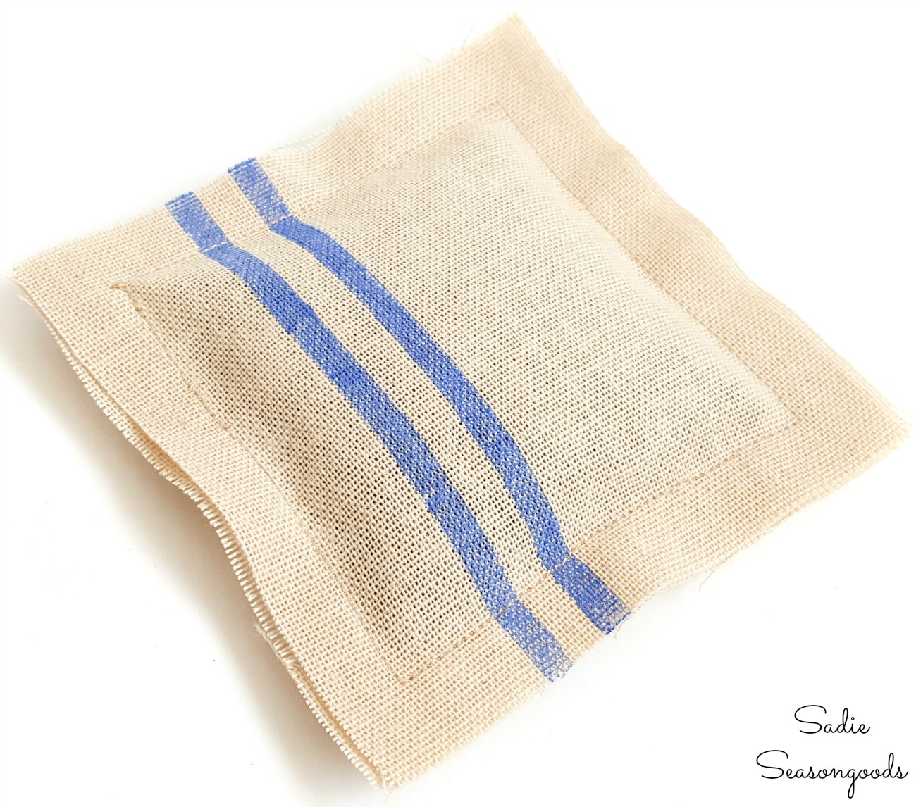 Scented sachet that looks like French grain sack fabric