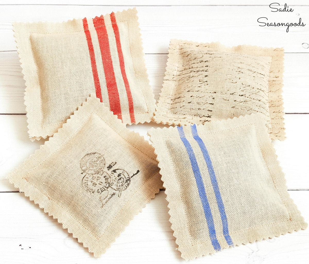 Scented sachets that look like grain sack fabric