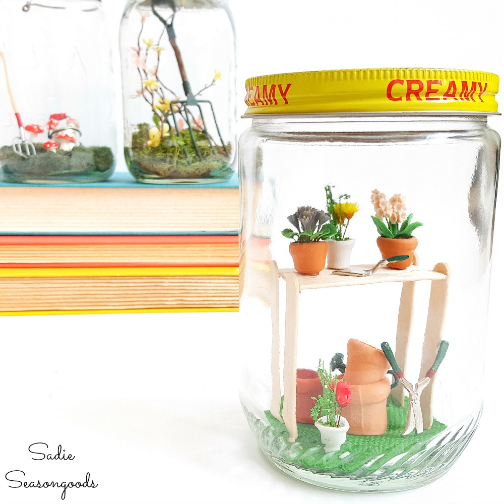 Decorating ideas for Spring with fairy garden accessories in vintage glass jars