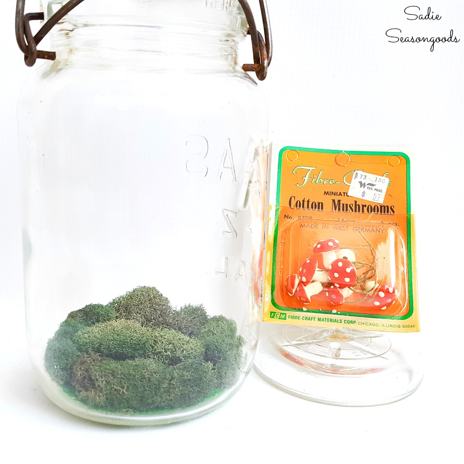 Fairy Toadstool or accessories for a mini fairy garden in vintage glass jars